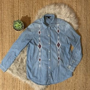 Aztec Denim Button Up